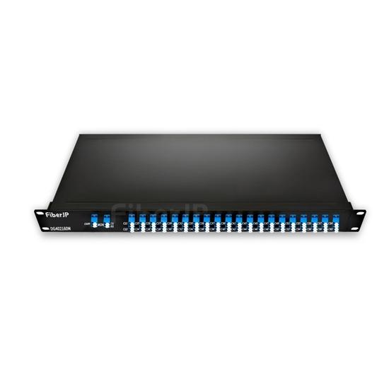 40チャネル C21-C60 デュアルファイバ AAWG DWDM波長合分波モジュール(モニターポート付き、標準3.0dBのIL、LC/UPC、FMU 1Uラックマウント)の画像