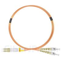 1m LC/UPC-ST/UPC デュプレックス マルチモード 光パッチケーブル(2.0mm PVC/OFNR OM2)の画像