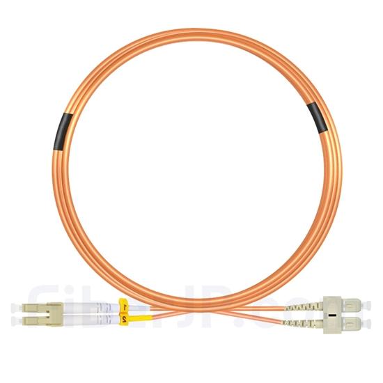 7m LC/UPC-SC/UPC デュプレックス マルチモード 光パッチケーブル(3.0mm PVC/OFNR OM2)の画像