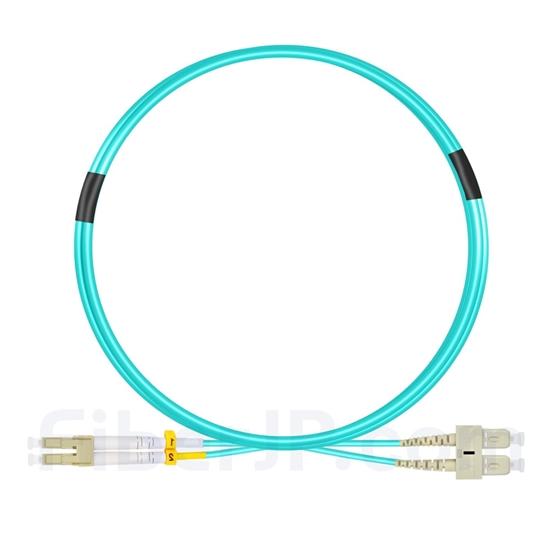 2m LC/UPC-SC/UPC デュプレックス マルチモード 光パッチケーブル(2.0mm PVC/OFNR OM3)の画像