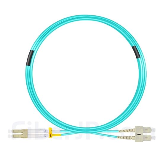 10m LC/UPC-SC/UPC デュプレックス マルチモード 光パッチケーブル(2.0mm PVC/OFNR OM3)の画像