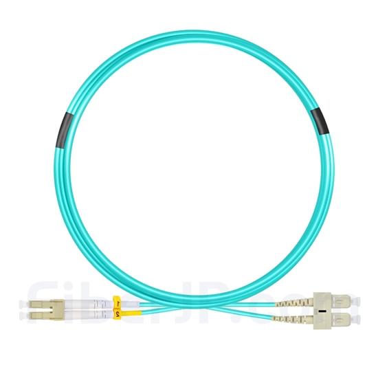 5m LC/UPC-SC/UPC デュプレックス マルチモード 光パッチケーブル(2.0mm PVC/OFNR OM3)の画像