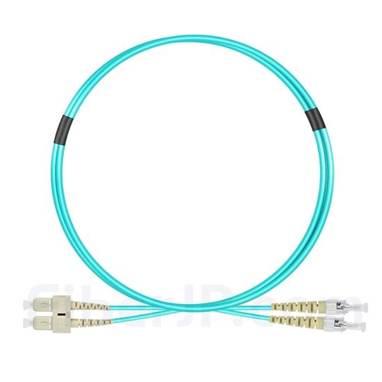 1m SC/UPC-ST/UPC デュプレックス マルチモード 光パッチケーブル(2.0mm PVC/OFNR OM3)の画像