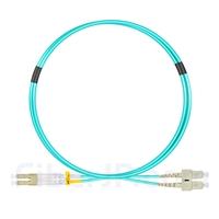 1m LC/UPC-SC/UPC デュプレックス マルチモード 光パッチケーブル(2.0mm OFNP OM3)の画像