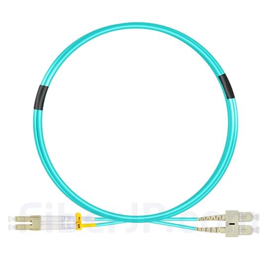 2m LC/UPC-SC/UPC デュプレックス マルチモード 光パッチケーブル(2.0mm LSZH OM4)の画像