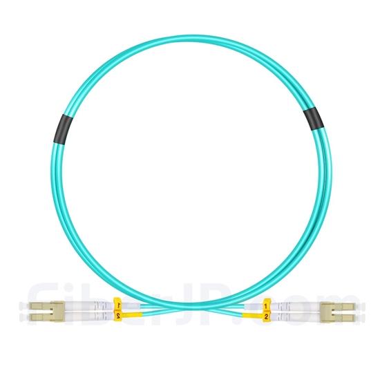 1m LC/UPC-LC/UPC デュプレックス マルチモード 光パッチケーブル(2.0mm OFNP OM4)の画像