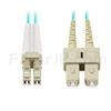 1m LC/UPC-SC/UPC デュプレックス マルチモード 光パッチケーブル(2.0mm OFNP OM4)の画像