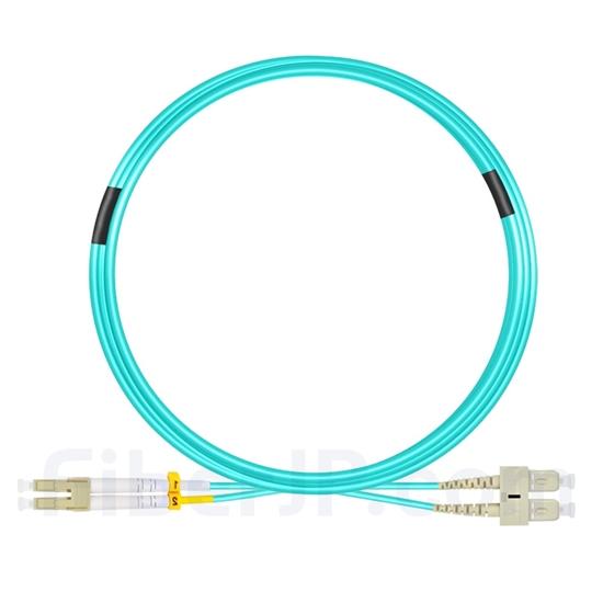 10m LC/UPC-SC/UPC デュプレックス マルチモード 光パッチケーブル(3.0mm LSZH  OM4)の画像