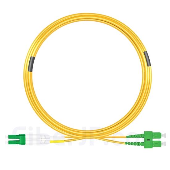 15m LC/APC-SC/APC デュプレックス シングルモード 光パッチケーブル(3.0mm PVC/OFNR 9/125)の画像