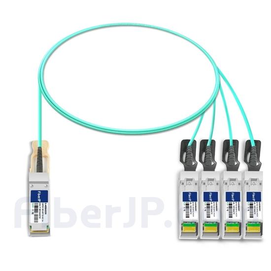 1m Cisco QSFP-4SFP25G-AOC1M対応互換 100G QSFP28/4x25G SFP28ブレイクアウトアクティブオプティカルケーブル(AOC)の画像