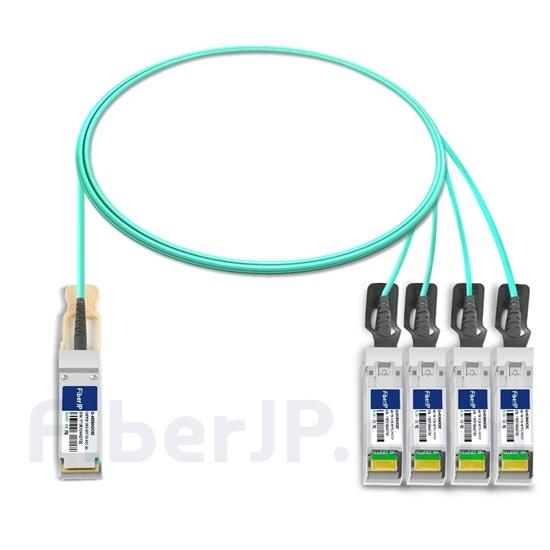 2m Cisco QSFP-4SFP25G-AOC2M対応互換 100G QSFP28/4x25G SFP28ブレイクアウトアクティブオプティカルケーブル(AOC)の画像