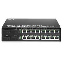 8x 10/100 / 1000Base-T RJ45 ~ 2x 1000Base-X SFP Rainure SC アンマネージド型ギガビットイーサネットメディアコンバーター、シングルファイバー、1310nm / 1550nm、20kmの画像