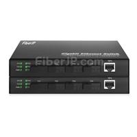 4x 10/100 / 1000Base-T RJ45 ~ 1x 1000Base-X SFP Rainure SC アンマネージド型ギガビットイーサネットメディアコンバーター、シングルファイバー、1310nm / 1550nm、20kmの画像
