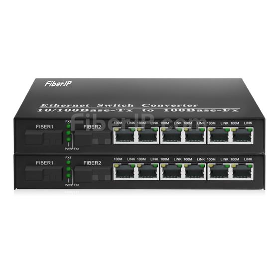 6x 10/100Base-T RJ45 vers 1x 100Base-X SFP Rainure SC アンマネージド型ギガビットイーサネットメディアコンバーター、シングルファイバー、1310nm/1550nm,20kmの画像
