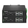 4x 10/100Base-T RJ45 vers 1x 100Base-X SFP Rainure SCアンマネージド型ギガビットイーサネットメディアコンバーター、シングルファイバー、1310nm/1550nm,20km工業級の画像
