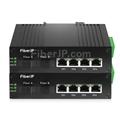 4x 10/100/1000Base-T RJ45 vers 1x 1000Base-X SFP Rainure SC アンマネージド型ギガビットイーサネットメディアコンバーター、シングルファイバー、1310nm/1550nm,20km工業級の画像