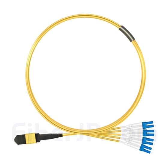 2m MPOメス-4LC/UPC デュプレックス 8芯 タイプB OS2 9/125 シングルモード ブレイクアウトケーブル(エリート、LSZH、黄色)の画像