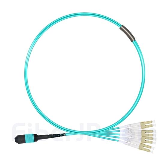 2m MPOメス-4 LC/UPC デュプレックス 8芯 タイプB OM3 50/125 マルチモード ブレイクアウトケーブル(エリート、LSZH、水色)の画像