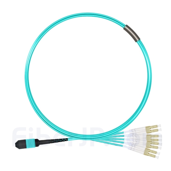 3m MPOメス-4 LC/UPC デュプレックス 8芯 タイプB OM3 50/125 マルチモード ブレイクアウトケーブル(エリート、LSZH、水色)の画像