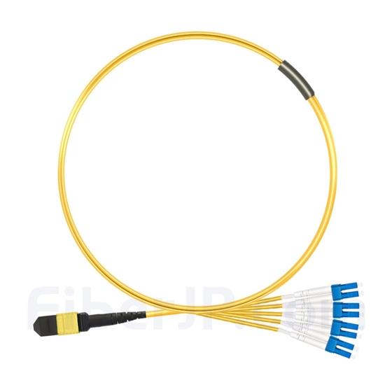 1m MTPメス-4LC/UPC デュープレックス 8芯 OS2 9/125 シングルモード ブレイクアウトケーブル(タイプB、エリート、LSZH、黄色)の画像