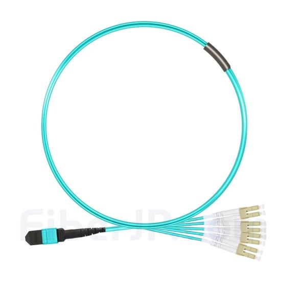 1m MTPメス-4LC/UPC デュープレックス 8芯 OM3 50/125 マルチモード ブレイクアウトケーブル(タイプB、エリート、LSZH、水色)の画像