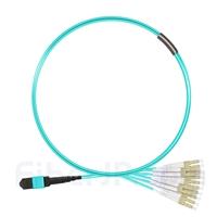 1m MTPメス-6LC/UPC デュープレックス 12芯 OM3 50/125 マルチモード ブレイクアウトケーブル(タイプA、エリート、LSZH、水色)の画像