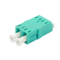 LC/UPC-LC/UPC 10G デュプレックス マルチモード SC型プラスチック製光ファイバアダプター/嵌合スリーブ(OM3、フランジなし、水色)