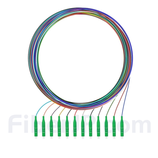 2m 12芯 LC/APC シングルモード 色分けピッグテール光ファイバケーブル(ジャケットなし、9/125)の画像
