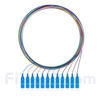 1m 12芯 SC/UPC シングルモード 色分けピッグテール光ファイバケーブル(ジャケットなし、9/125)の画像