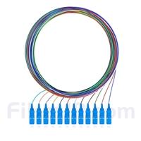 2m 12芯 SC/UPC シングルモード 色分けピッグテール光ファイバケーブル(ジャケットなし、9/125)の画像