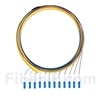 1.5m 12芯 LC/UPC シングルモード ピッグテール光ファイバケーブル(0.9mm PVCジャケット、9/125、束状)の画像