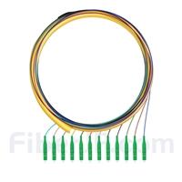 1.5m 12芯 LC/APC シングルモード ピッグテール光ファイバケーブル(0.9mm PVCジャケット、9/125、束状)の画像