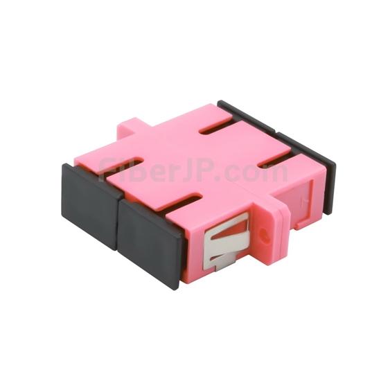 SC/UPC-SC/UPC 10G デュプレックス マルチモード プラスチック製光ファイバアダプター/嵌合スリーブ(OM4、フランジ付き、すみれ色)の画像