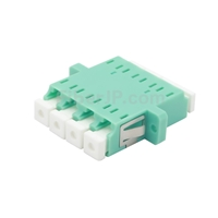 LC/UPC-LC/UPC 10G クワッド マルチモード プラスチック製光ファイバアダプター/嵌合スリーブ(OM3、フランジ付き、水色)