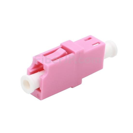 LC/UPC-LC/UPC 10G シンプレックス プラスチック製光ファイバアダプター/嵌合スリーブ(OM4、フランジなし、すみれ色)の画像